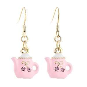 Perfect Gift   High Quality GlisteringTea Pot Earrings with Pink CZ