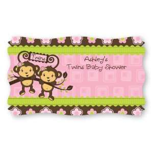 Twin Monkey Girls   Set of 8 Personalized Baby Shower Name