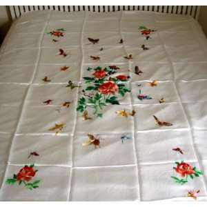 Chinese Silk Embroidery Bedspread Butterfly White