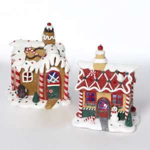 Gingerbread Kisses LED Lighted Claydough Christmas House Decorations