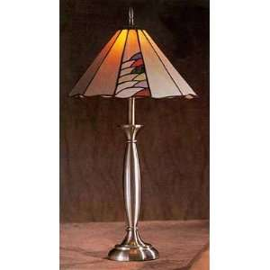 Pewter Table Lamp With Multi Color Tiffany Shade