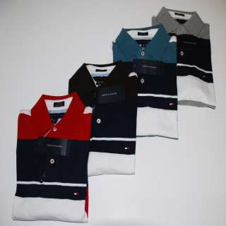 TOMMY HILFIGER S/S POLO SHIRT STRIPED XS S M L XL XLL GRAY RED BLUE