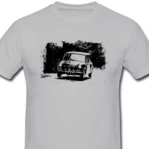 Classic Mini Rally T shirt, Retro Mini Cooper Tee Shirt