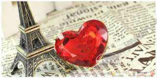 Fashion Love Big Red Heart Crystal Ring Rings