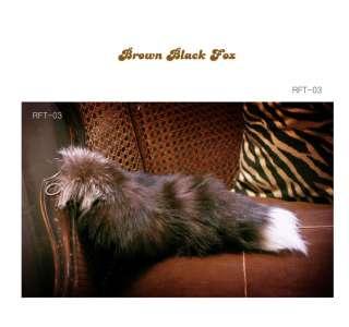 Real Fox Fur Tail Key Chain Dark Brown