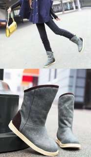 SS034 Gray Brown Winter Lady Quilted Mid Snow Flat Boots Shoes Retro