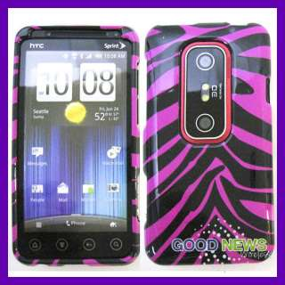for Sprint HTC EVO 3D   Hot Pink Zebra Snap on Case Phone Cover