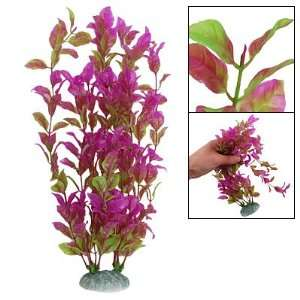 Como Purple Green Plastic Leaves Plant Decor for Fish Tank