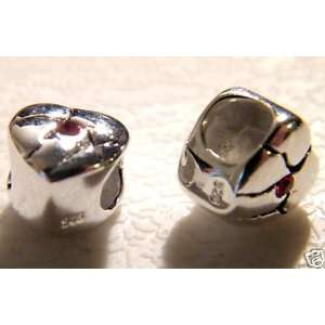 Broken Heart with Red CZ Sterling Silver Spacer Bead