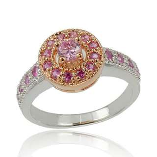 New Rose Gold Plated Simulated Ruby 925 Sterling Silver Womens