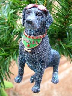 New Spoiled Rotten Dog Black Lab Pet Christmas Ornament