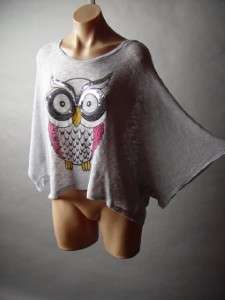 Gray Sequin Embellished Owl Bird Graphic Casual Lounge Oversized Fit