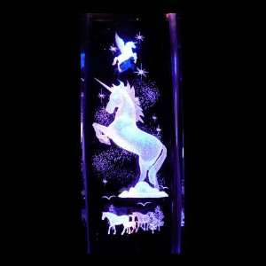 Unicorn 3D Laser Etched Crystal includes Two Separate LED