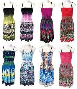 Printed Summer Smocked Spaghetti Strap Sun Dress
