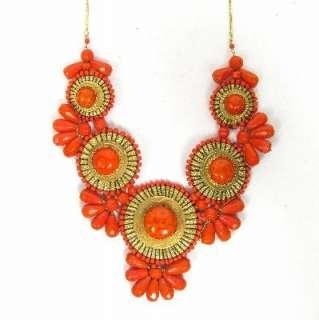 Metal Bib Necklace XL Pick Turquoise or Orange Beads Medallion