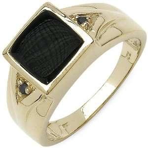 Yellow Gold Plated Sterling Silver Genuine Black Onyx & Black Diamond