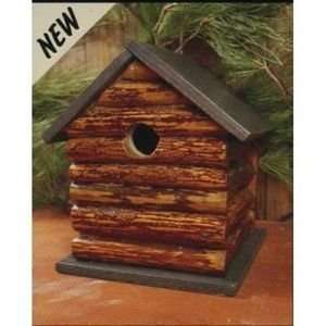 Outdoor Birdhouse Wood Log Cabin Wild Bird House Patio, Lawn & Garden