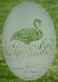 21x33 FLAMINGO BIRD OVAL WINDOW CLING Birds Etched Glass Removable
