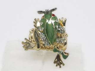 Peridot Color Crystal Elastic Frog Gold Tone Ring s1120