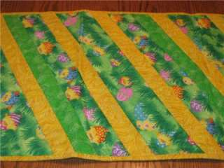Handmade Table Runner Easter Chicks Flowers eggs Strip