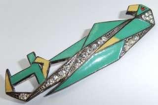 RARE SUPERB VTG ANTIQUE 1920s ART DECO ENAMEL RHINESTONE PARROT BIRD