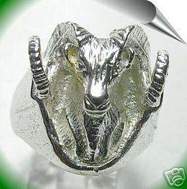 Heavy Aries RAM Goat Zodiac sign Jewelry ring Silver