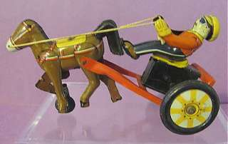 Vintage LINEMAR Japan Tin Friction SULKY Horse & Jockey TOY