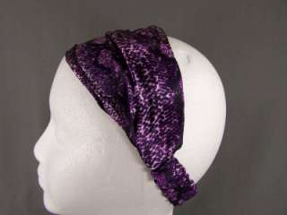 Purple Lizard Snake skin print pattern satin fabric stretch headband