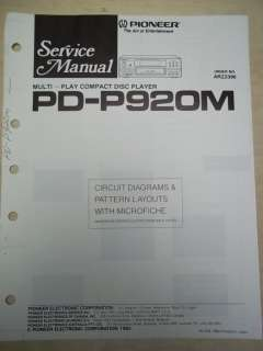 Pioneer Service Manual~PD P920M CD Player~Original~Repair