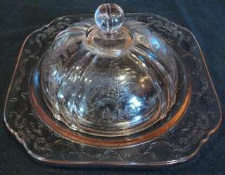 FEDERAL GLASS CO   MADRID   PINK ROUND BUTTER DOME COVER /SALAD PLATE