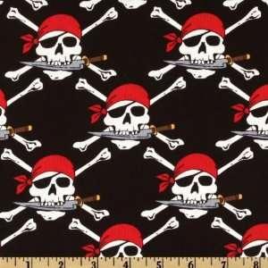 44 Wide Skull & Cross Bones Black Fabric By The Yard