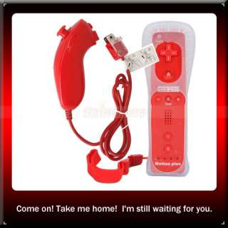 Red Remote Controller Built in Motion Plus+nunchuck For Nintendo Wii