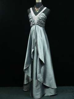 Satin Grey Sparkle Prom Ball Gown Wedding/Evening Dress UK Size 16 18