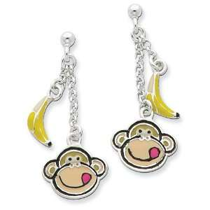 Sterling Silver Enameled Monkey Face & Banana Dangle Post