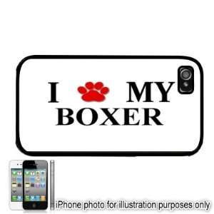 Boxer Paw Love Dog Apple iPhone 4 4S Case Cover Black