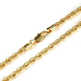 Vogue Mens 18k Yellow gold filled Rope necklace 24Knot chain Mens