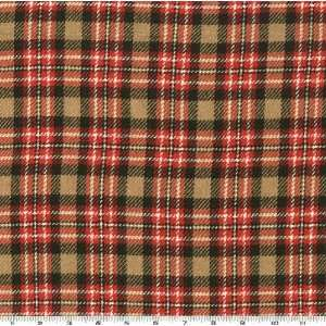 58 Wide Novelty Wool Plaid Red/Black/Camel Fabric By The
