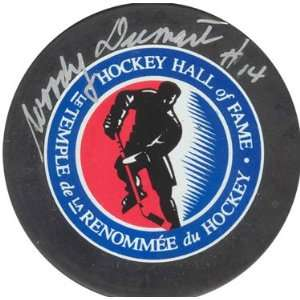 Woody Dumart Autographed Hockey Hall of Fame Puck