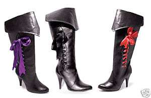 Womens Pirate Boots Black 4 heel Ribbons Size 5 14