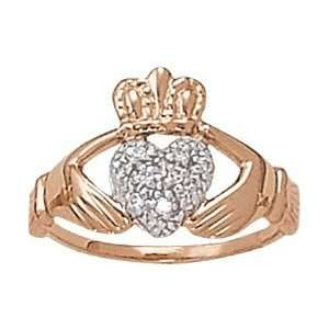 14K Rose Gold Diamond Claddagh Ring Jewelry