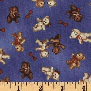 44 Wide Bear With Me Teddy Bears Denim Blue Fabric By