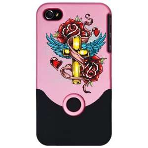 Slider Case Pink Roses Cross Hearts And Angel Wings