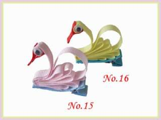 58 Girls Hair Bow Clip Paprika Cabbage Swan Sheep