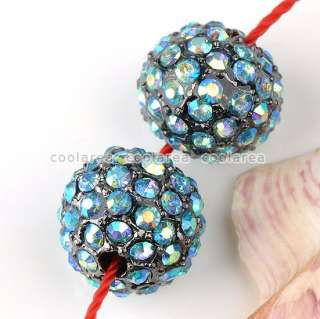 14/Color 5pc Crystal Rhinestone Loose Disco Ball Beads For Macrame