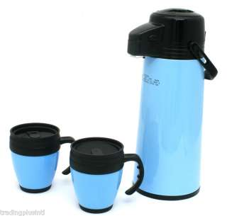 Coffee Thermo Dispenser Set AIR Pump & Mugs Glass Lined