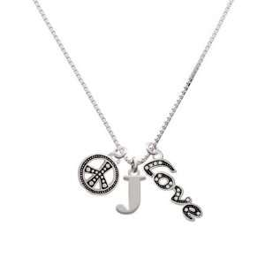 Large Silver Initial   J, Peace, Love Charm Necklace [Jewelry