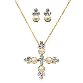 Pearl Pave Crystal Cross Necklace Earring Set Silver
