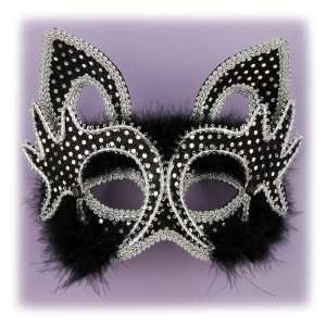 Masquerade Venetian Mardi Gras Black Kitty Cat Mask Toys & Games