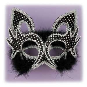 Masquerade Venetian Mardi Gras Black Kitty Cat Mask Toys & Games