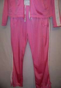 NWOT Nike Womens Pink & White Jogging Running Suits Pants Jacket Sz L